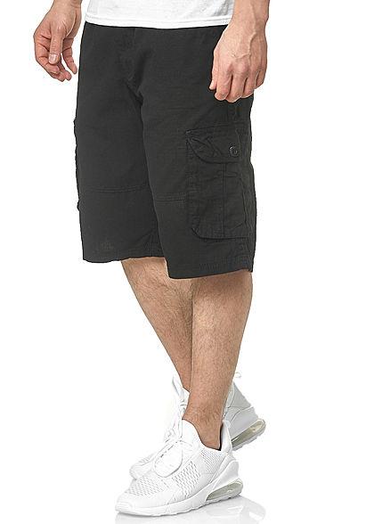 Southpole Herren Ripstop Cargo Shorts 6-Pockets inkl. D-Ring Gürtel schwarz