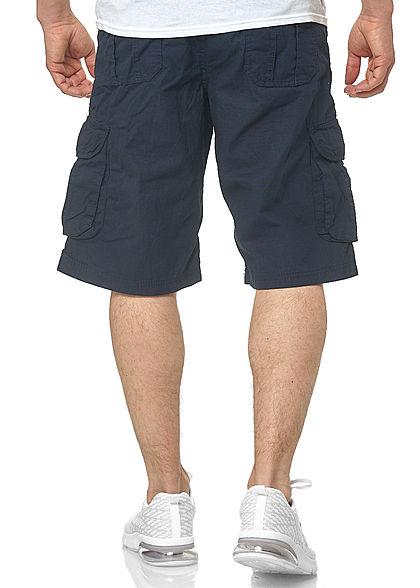 Southpole Herren Ripstop Cargo Shorts 6-Pockets inkl. D-Ring Gürtel navy blau