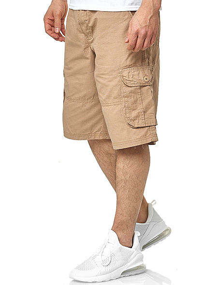 Southpole Herren Ripstop Cargo Shorts 6-Pockets inkl. D-Ring Gürtel khaki beige