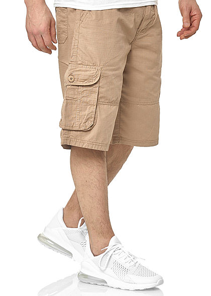 Southpole Herren Ripstop Cargo Shorts 6-Pockets inkl. D-Ring Gürtel khaki grün
