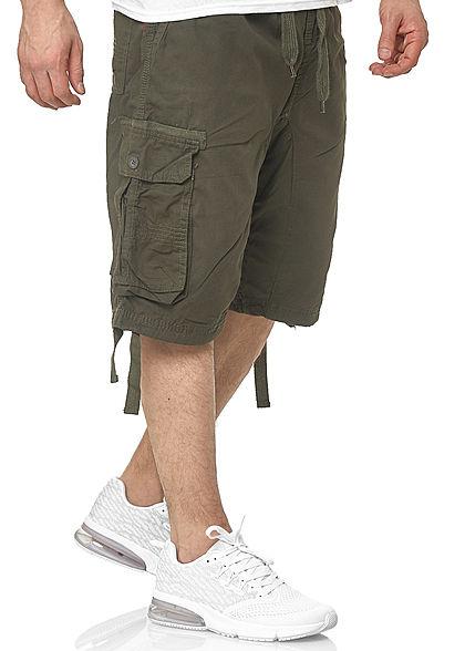 Southpole Herren Cargo Jogger Shorts 6-Pockets Tunnelzug oliv grün