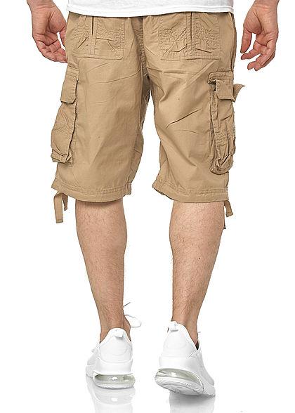 Southpole Herren Cargo Jogger Shorts 6-Pockets Tunnelzug deep khaki