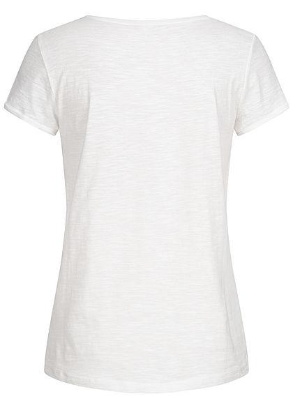 TOM TAILOR Damen T-Shirt Streifen Muster weiss rosa weiss