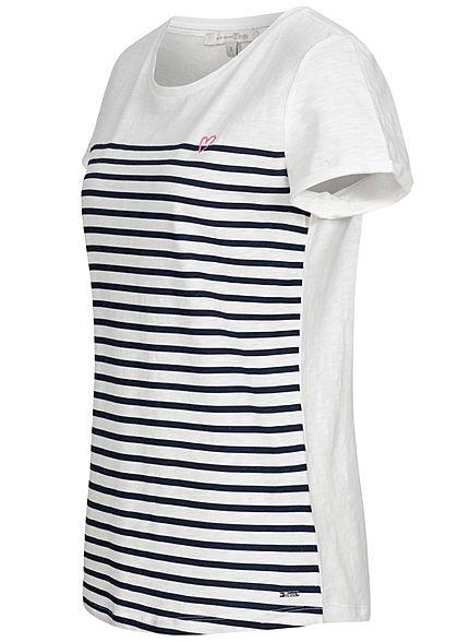 TOM TAILOR Damen T-Shirt Streifen Muster weiss navy