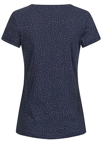 Tom Tailor Damen T-Shirt Dots Punkte Print navy blau