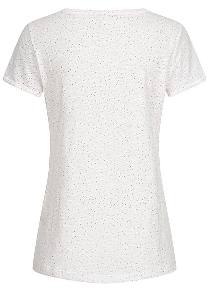 Tom Tailor Damen T-Shirt Dots Punkte Print weiss rosa