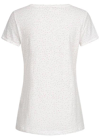 Tom Tailor Damen T-Shirt Dots Punkte Print weiss rosa