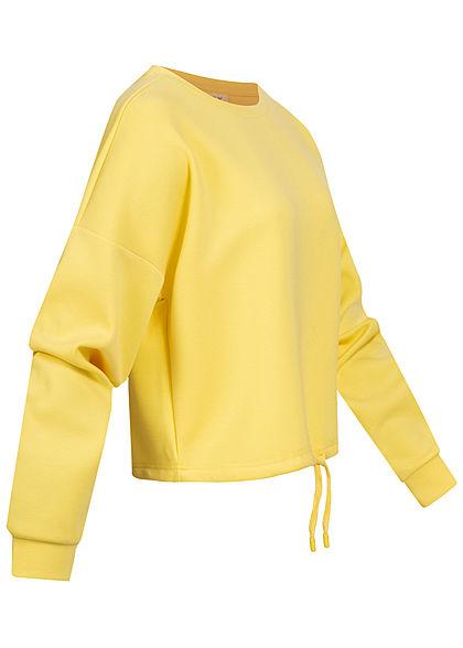 ONLY Damen Oversize Pullover Tunnelzug am Saum limelight gelb