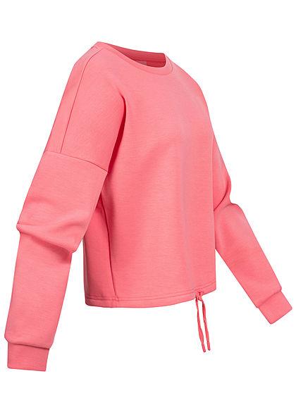 ONLY Damen Oversize Pullover Tunnelzug am Saum lemonade pink