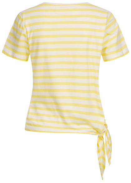 ONLY Damen T-Shirt Streifen Muster seitlich zum knoten limelight gelb weiss