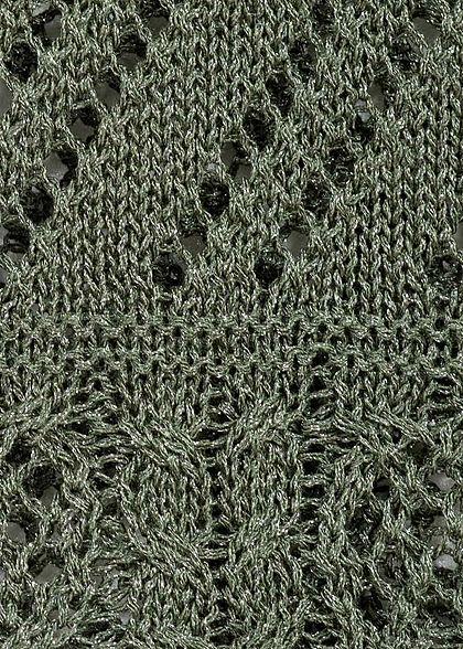 ONLY Damen V-Neck Strick Top Lochmuster kalamata oliv grün