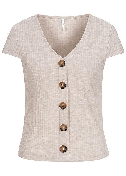 ONLY Damen NOOS Ribbed V-Neck T-Shirt Deko Knopfleiste pumice stone beige