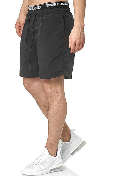 Urban Classics Herren 2in1 Swim Shorts mit Logo Gummibund schwarz weiss