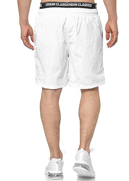 Urban Classics Herren 2in1 Swim Shorts mit Logo Gummibund weiss schwarz