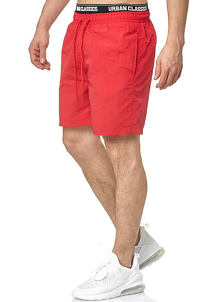 Urban Classics Herren 2in1 Swim Shorts mit Logo Gummibund fire rot