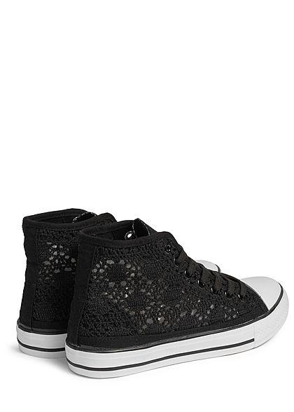 Seventyseven Lifestyle Damen Schuh Canvas Sneaker Häkel- Optik schwarz