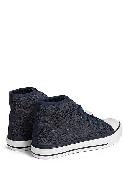 Seventyseven Lifestyle Damen Schuh Canvas Sneaker Häkel- Optik navy blau