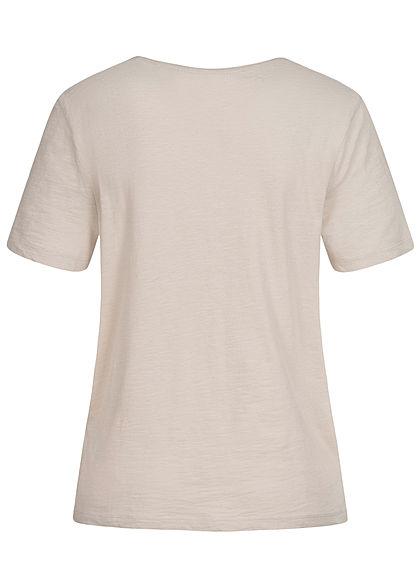 ONLY Damen T-Shirt Logo Print pumice stone beige