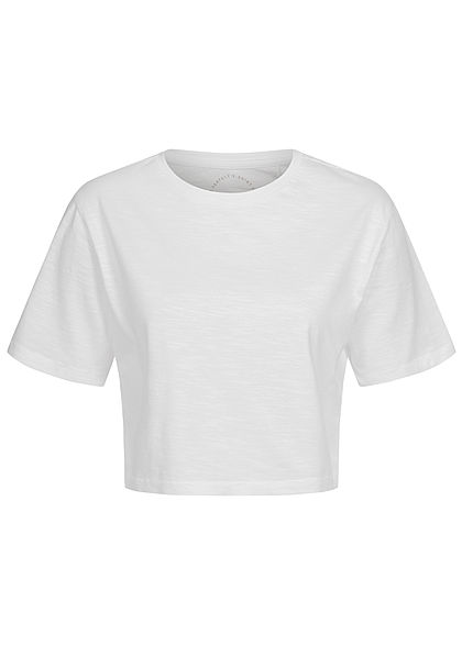 ONLY Damen Basic Cropped T-Shirt weiss