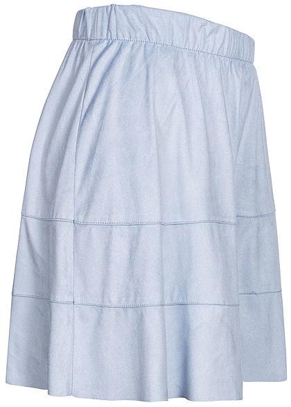 ONLY Damen NOOS Kunstleder Rock Velour-Optik cashmere hell blau