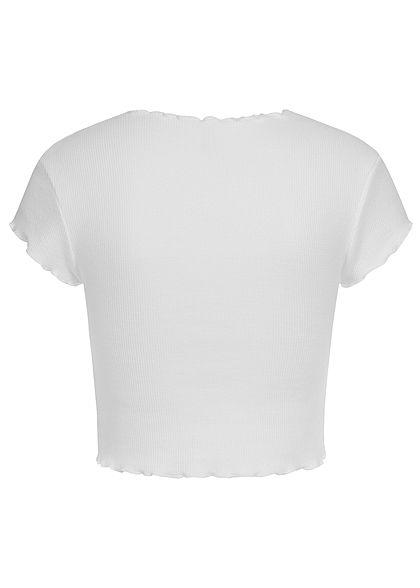 ONLY Damen Ribbed Crop Top T-Shirt mit Wellendetails am Saum cloud dancer weiss
