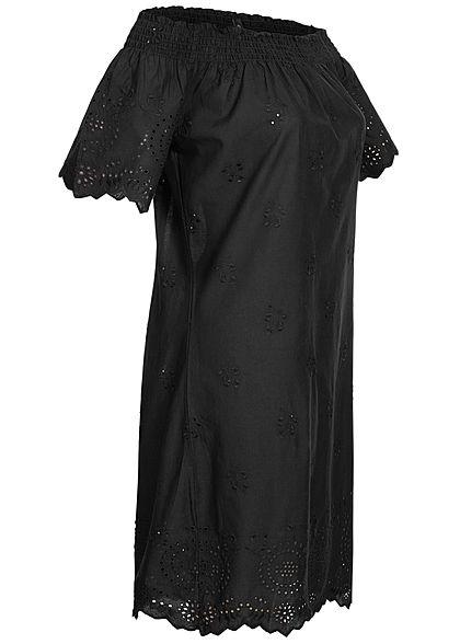 ONLY Damen Off-Shoulder Mini Kleid Loch-Muster schwarz