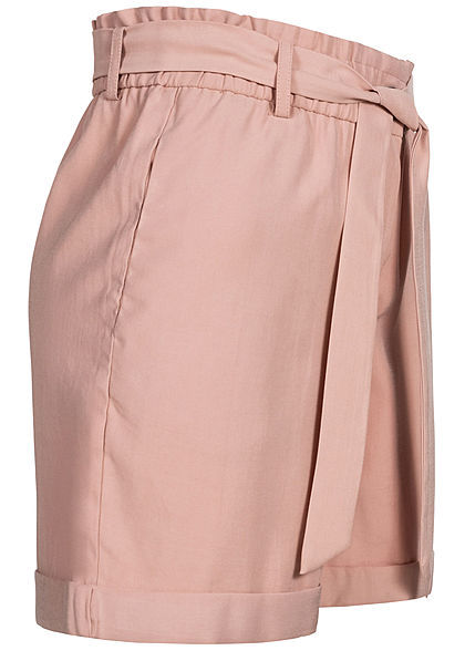 ONLY Damen Paperbag Shorts High-Waist inkl. Bindegürtel 2-Pockets misty rosa
