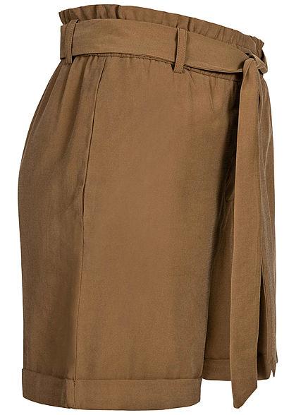ONLY Damen Paperbag Shorts High-Waist inkl. Bindegürtel 2-Pockets otter braun