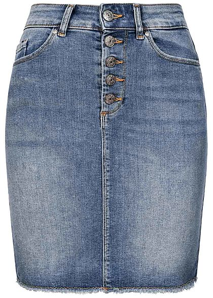 ONLY Damen High-Waist Jeans Rock Knopfleiste 5-Pockets hell blau denim