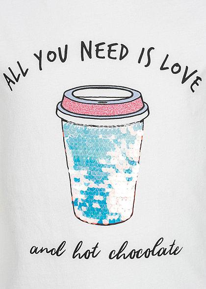 ONLY Kids Mädchen T-Shirt Wendepailletten Love is Print bright weiss