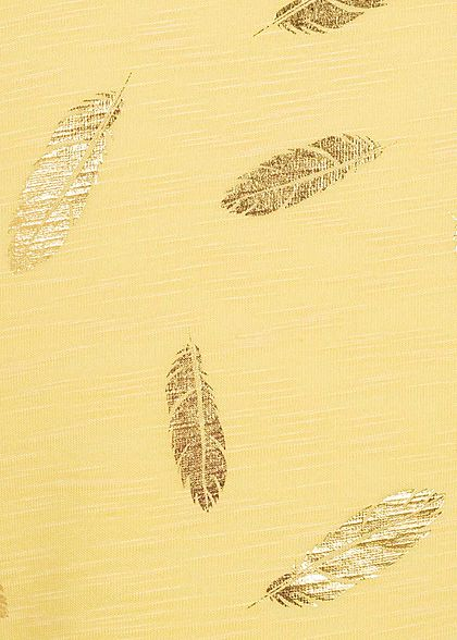 ONLY Kids Mädchen T-Shirt Federn Print cloud dancer pineapple slice gelb gold