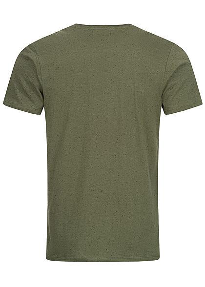 Brave Soul Herren T-Shirt Punkte Muster khaki grün