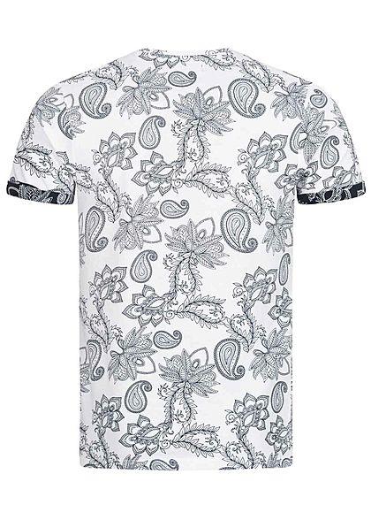 Brave Soul Herren T-Shirt Paisley Print weiss schwarz
