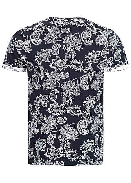 Brave Soul Herren T-Shirt Paisley Print navy blau weiss