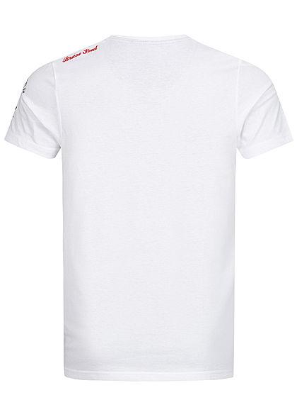 Brave Soul Herren T-Shirt Skulls Head Print weiss