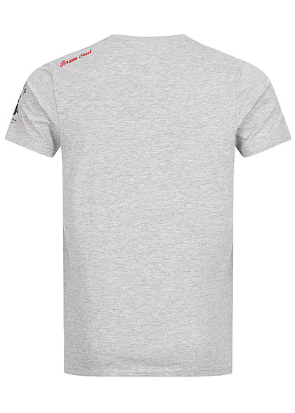 Brave Soul Herren T-Shirt Skulls Head Print hell grau