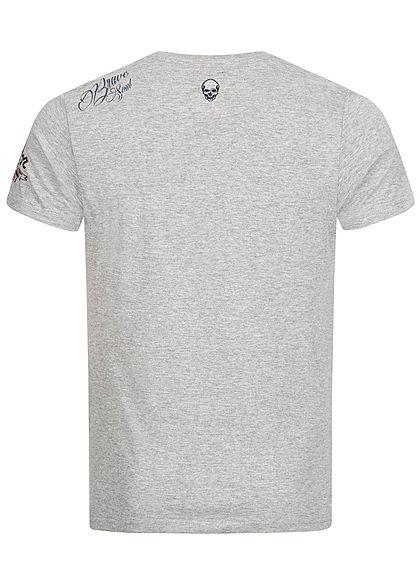 Brave Soul Herren T-Shirt Skulls Headphone Head Print medium grau