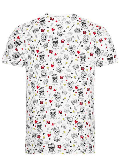 Brave Soul Herren T-Shirt Allover Skullshead Print weiss mc