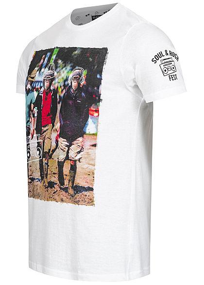 Brave Soul Herren T-Shirt Monkey Print weiss mc