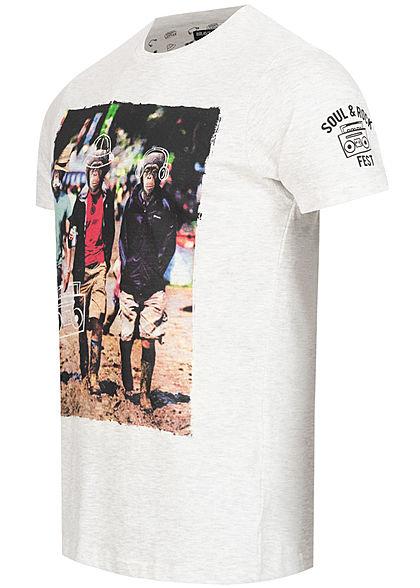 Brave Soul Herren T-Shirt Monkey Print grau melange mc