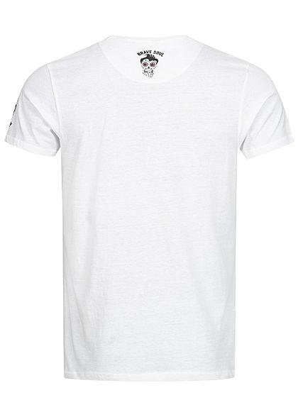 Brave Soul Herren T-Shirt Barber Shop Print weiss