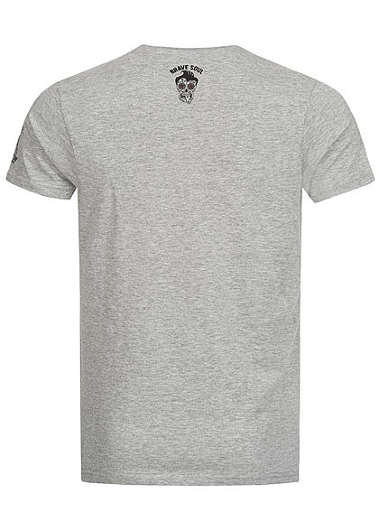 Brave Soul Herren T-Shirt Barber Shop Print medium grau