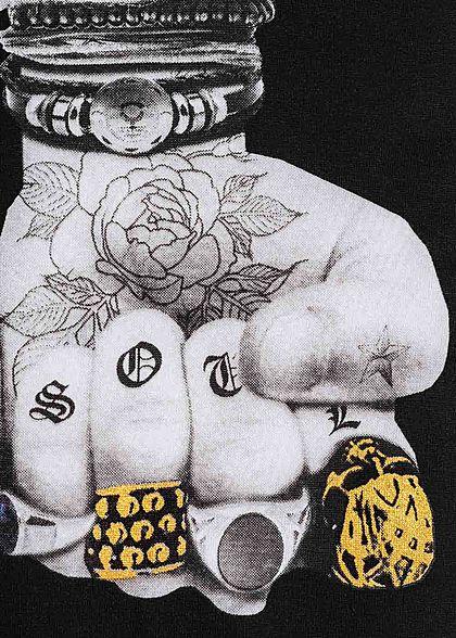 Brave Soul Herren T-Shirt Tattoo Arms Print weiss