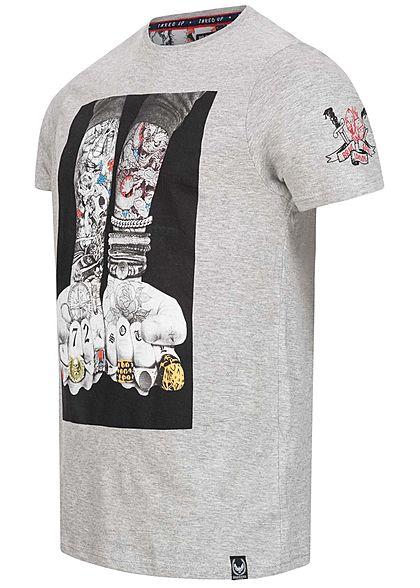 Brave Soul Herren T-Shirt Tattoo Arms Print med. grau