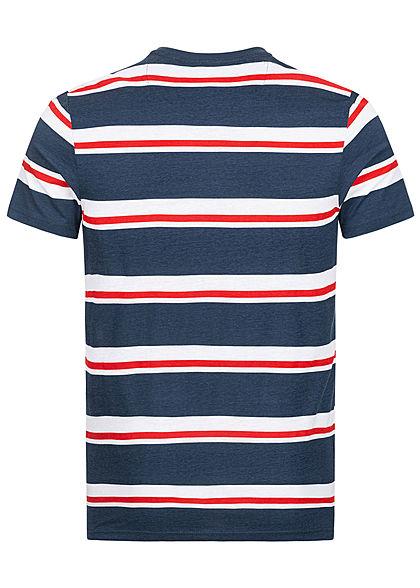 Brave Soul Herren T-Shirt Streifen Muster navy blau rot