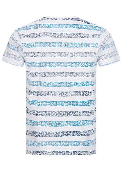 Brave Soul Herren T-Shirt Inside Azteken Print navy blau