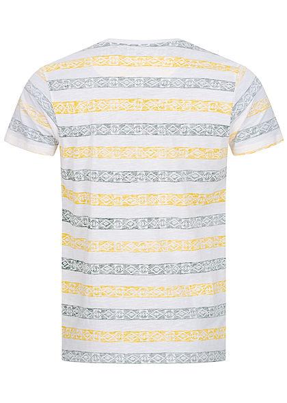 Brave Soul Herren T-Shirt Inside Azteken Print gelb