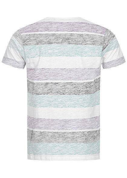 Brave Soul Herren T-Shirt Colorblock Inside Print Streifen Muster mint lila