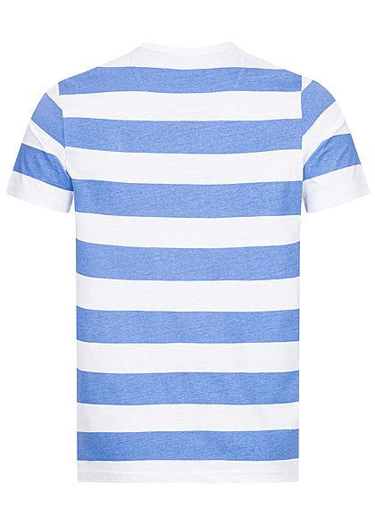 Brave Soul Herren 2-Tone T-Shirt Streifen Muster saphire blau weiss
