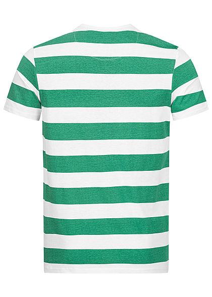 Brave Soul Herren 2-Tone T-Shirt Streifen Muster jade grün weiss